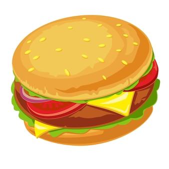 Hamburger met vlees, sla, kaas, ui en tomaat