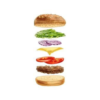 Hamburger met vliegende ingrediënten op witte achtergrond. vector vintage uitkomen