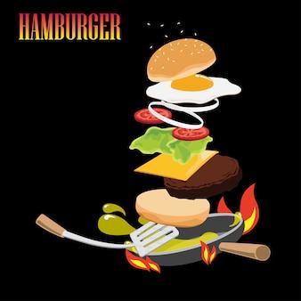 Hamburger op de pan koken.