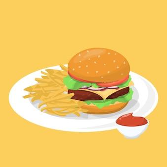 Hamburger, patat en ketchup op de plaat