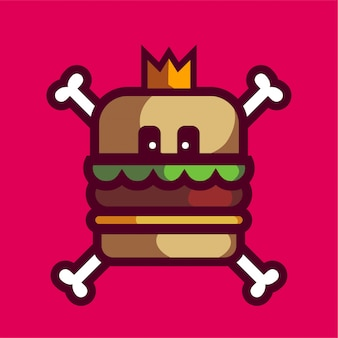 Hamburger schedel mascotte logo