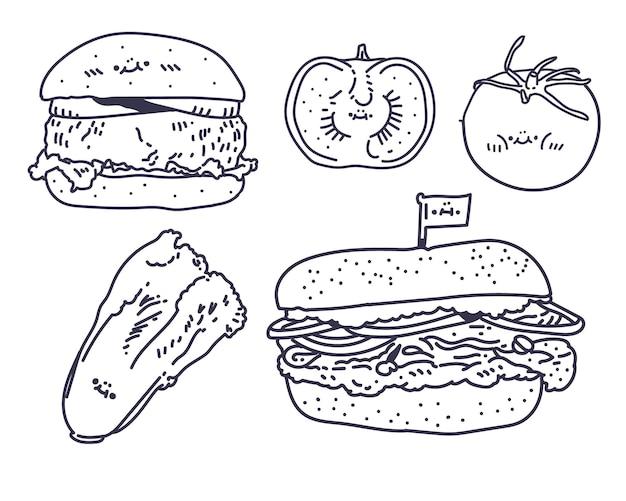 Hamburger tekenstijl. hamburger lijn illustratie. tomaat glimlach