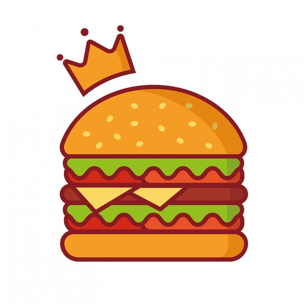Hamburger vector illustratie, eenvoudige element illustratie, koning hamburger met kroon logo vector