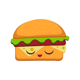 Hamburger vectorillustratie in platte cartoon stijl. fastfood achtergrond. hamburger emoticon karakters leuk gezicht.