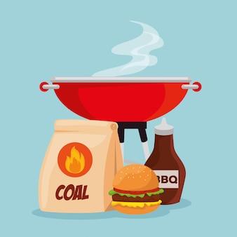 Hamburger vlees met grill en bbq saus