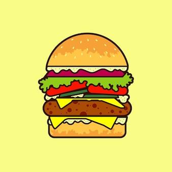 Hamburger volledige kleur illustratie vector