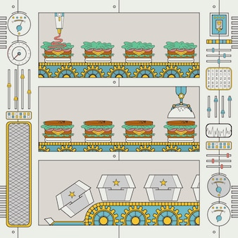 Hamburgerfabriek met transportband en grijper in platte lijnstijl