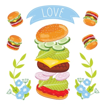 Hamburgeringrediënten op witte achtergrond