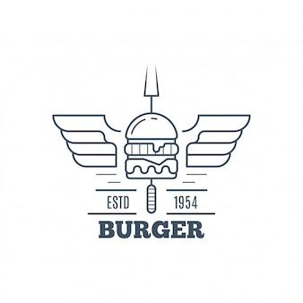 Hamburgers badge ontwerp, lijn kunst vectorillustratie