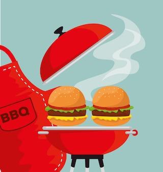Hamburgers in de grill met schort