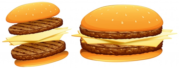 Hamburgers met rundvlees en kaas
