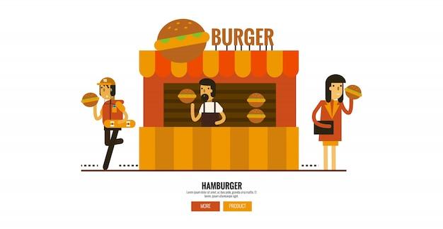Hamburgerwinkel op straat met klanten