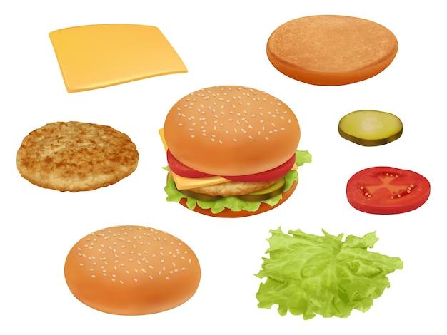 Hamburgher. realistische fast-food ingrediënten groenten tomaat rundvlees maaltijd salade heerlijk eten constructeur. illustratie hamburger of cheeseburger, sla en brood