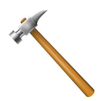 Hamer met houten greep