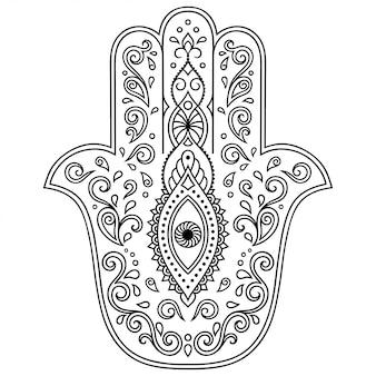 Hamsa hand getekend symbool met bloem.