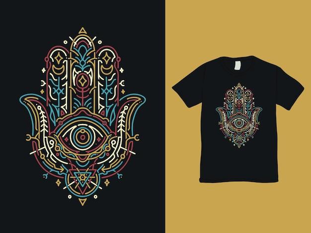 Hamsahand van fatima monoline t-shirtontwerp
