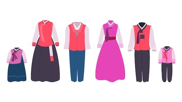 Hanbok kleding koreaanse traditionele klederdracht voor volwassenen en kinderen. nationale aziatische kleding, oosterse jurk voor vrouw en man, etnische oosterse outfit set vectorillustratie geïsoleerd op een witte achtergrond