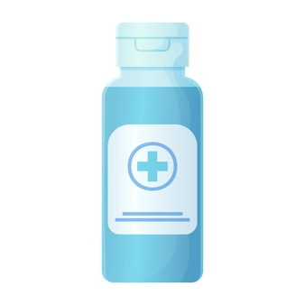 Hand antiseptisch in blauwe fles antibacteriële gel illustratie in cartoon realistische stijl