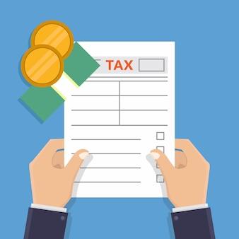 Hand belasting vorm en geld platte ontwerp vectorillustratie te houden