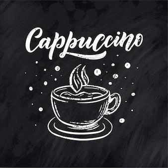 Hand belettering cappuccino met koffiekopje schets