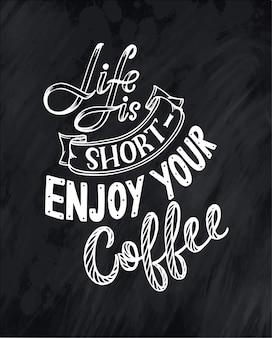 Hand belettering citaat met schets voor coffeeshop of café.