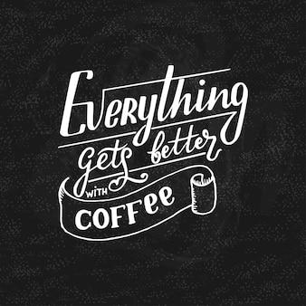 Hand belettering citaat met schetsen voor coffeeshop of café.