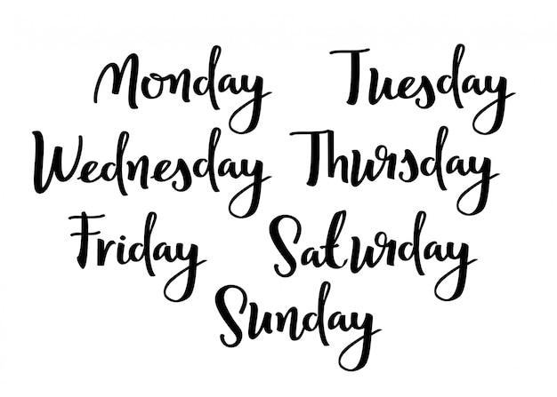 Hand-belettering dagen van de week.