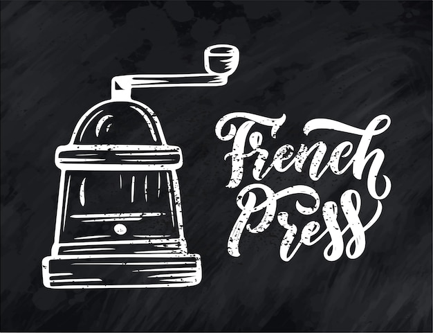 Hand belettering ellement in schetsstijl voor coffeeshop of café. hand getekend vintage cartoon ontwerp, geïsoleerd Premium Vector