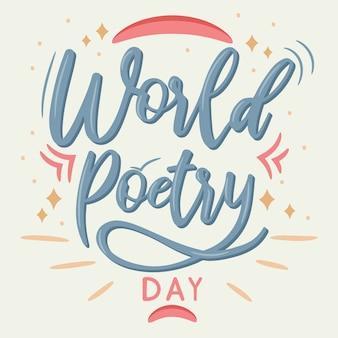 Hand belettering kalligrafie wereld poëzie dag
