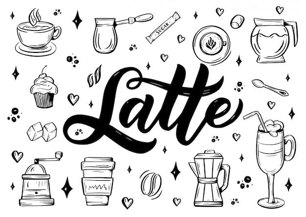 Hand belettering latte-tekst met schets voor coffeeshop of café.