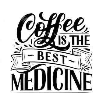 Hand belettering samenstelling met schets voor coffeeshop of café.