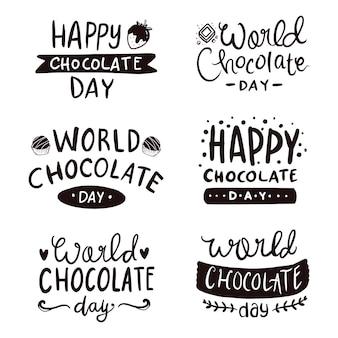 Hand belettering typografie van gelukkige wereld chocolade dag doodle illustratie lijn kunst vector