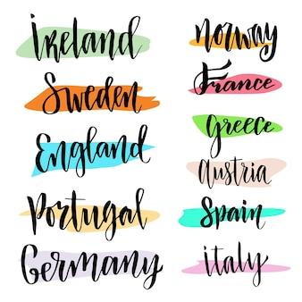 Hand belettering. vector moderne kalligrafische. landen van de wereld
