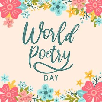 Hand belettering wereld poëzie dag bloem achtergrond