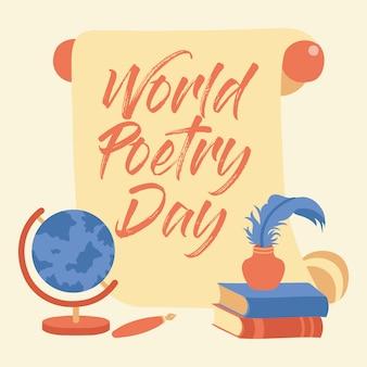 Hand belettering wereld poëzie dag illustratie