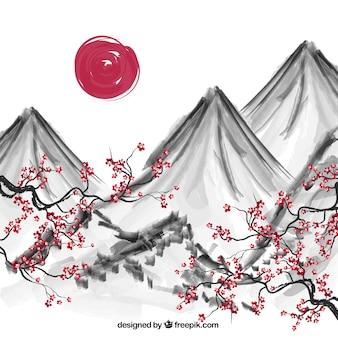 Hand beschilderde japanse achtergrond