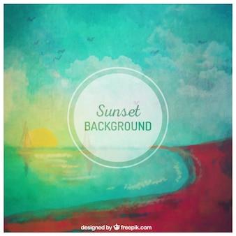 Hand beschilderde zonsondergang op de achtergrond
