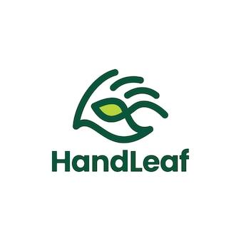 Hand blad geven hulp zorg logo vector pictogram illustratie
