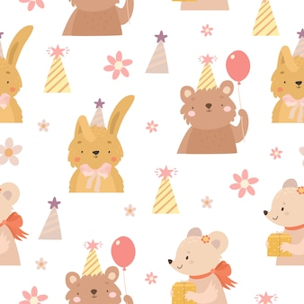 Hand dageraad dieren verjaardag patroon
