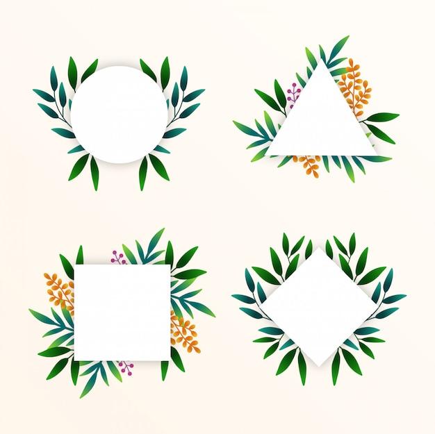 Hand dawn tropische bladeren frames-collectie