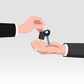 Hand die autosleutels met alarmsysteem geeft. autoverhuur of verkoop concept