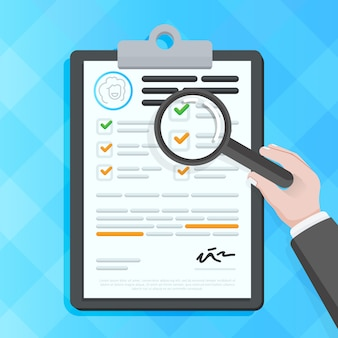 Hand die documenten controleert op klembord