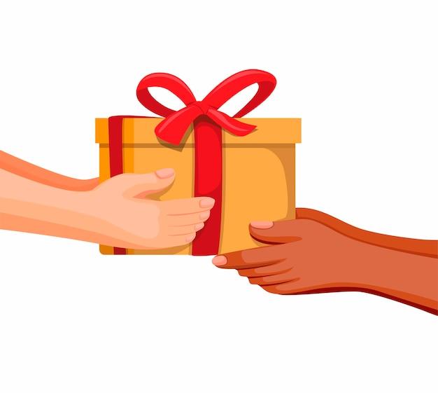 Hand die doos geeft. geschenkdoos aanwezig of donatie met diversiteit mensen ondersteuning en liefdadigheid symbool concept in cartoon afbeelding