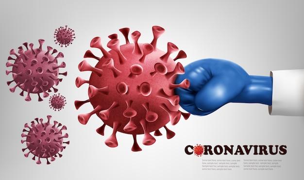 Hand die een blauwe bokshandschoen draagt die met covid-19-virus vecht. coronavirus concept bestrijden. illustratie.