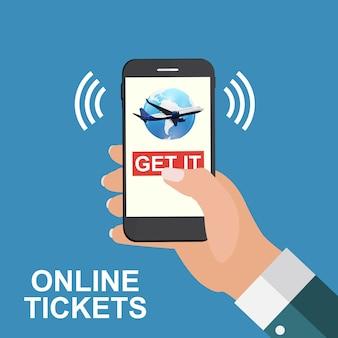 Hand die een mobiele telefoon houdt. koop vliegtickets online concept.