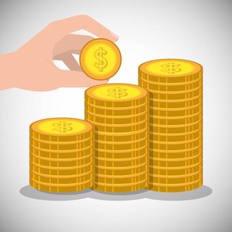 Hand die een muntstuk met gestapelde gouden muntstukken houdt
