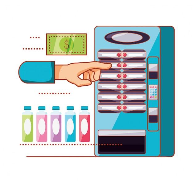 Hand die elektronische automaat van drankautomaat gebruiken