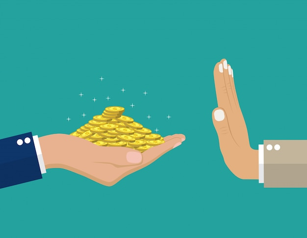 Hand die geld geeft aan andere.