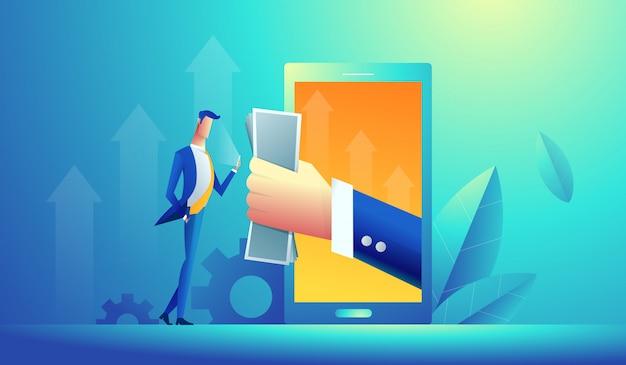 Hand die geld van een computer geeft aan jonge zakenman