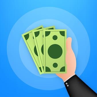 Hand die geldrekeningen op blauwe achtergrond houdt of toont. vector stock illustratie